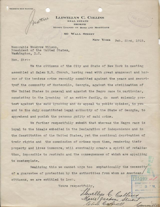 Llewellyn C. Collins to President Woodrow Wilson, February 23, 1915 (NAID 583895)