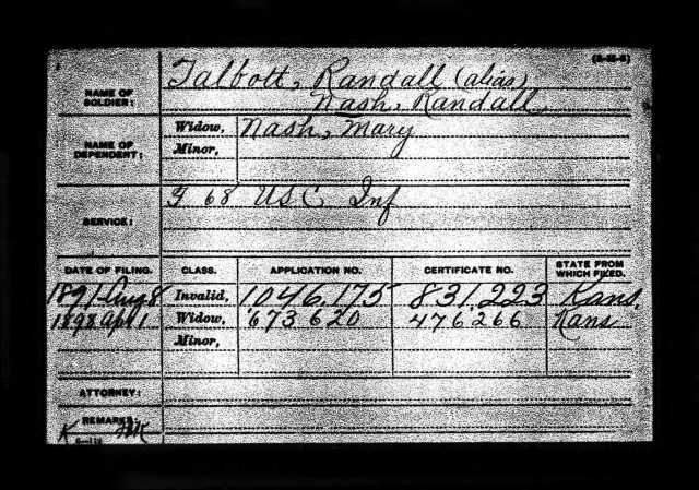 Index card to request the tintype for Randall Nash. Invalid Application 1046175 Certificate 831223 Widow Application 673620 Certificate 476266