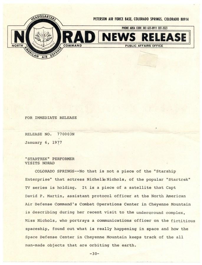 NORAD press release regarding Nichelle Nichols' visit to NORAD