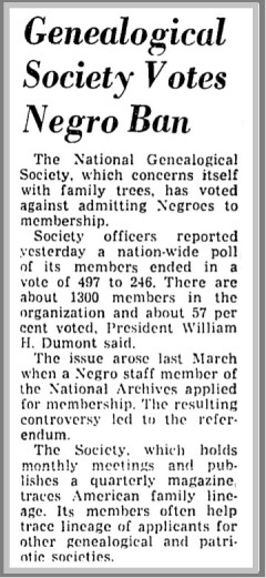 National+Genealogical+Society+Bans+Negroes+-+Washington+Post,+Nov.+21,+1960