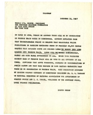 Telegram from Cooper Green to Thomas Brophy, 12/16/1947