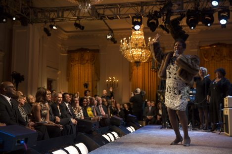 """P030614CK-0397: Aretha Franklin performs during the """"Women of Soul"""" In Performance at the White House"""" in the East Room, March 6, 2014. Courtesy Barack Obama Presidential Library."""