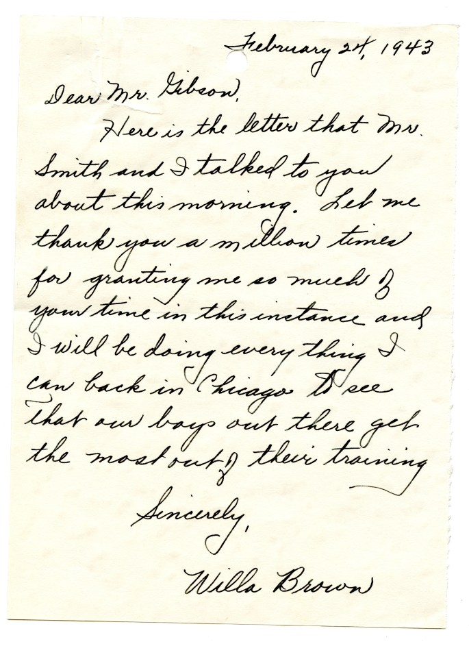 letter from Willa Brown to Truman Gibson