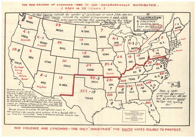 map of US showing number of people lynched by state, and votes against the anti-lynching bill
