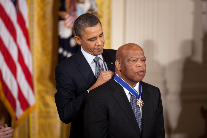 President Barack Obama awards the 2010 Presidential Medal of Freedom to Congressman John Lewis in a ceremony in the East Room of the White House February 15, 2011. (Courtesy Barack Obama Presidential Library)