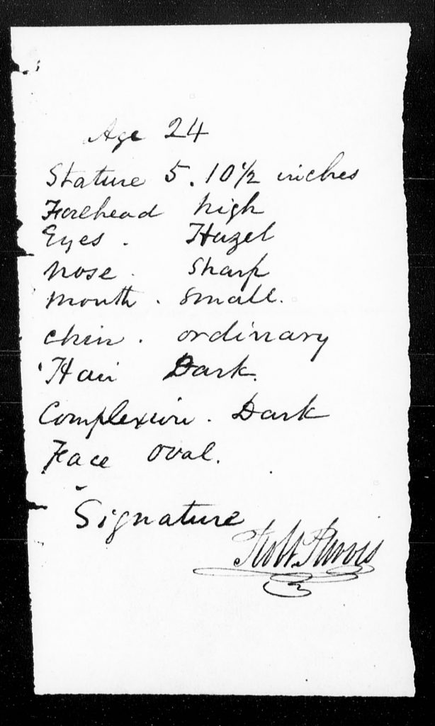 sheet with physical description of Robert Purvis