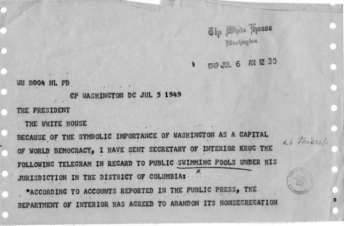 Telegram to President Truman regarding public pools in DC