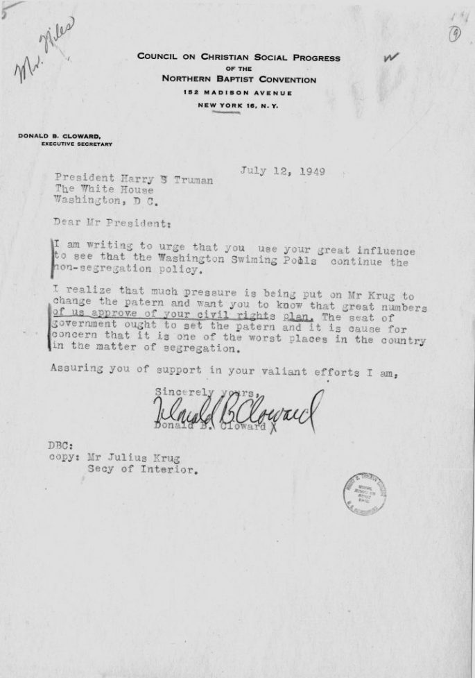 letter to President Truman urging to continue efforts to desegregate pools in DC