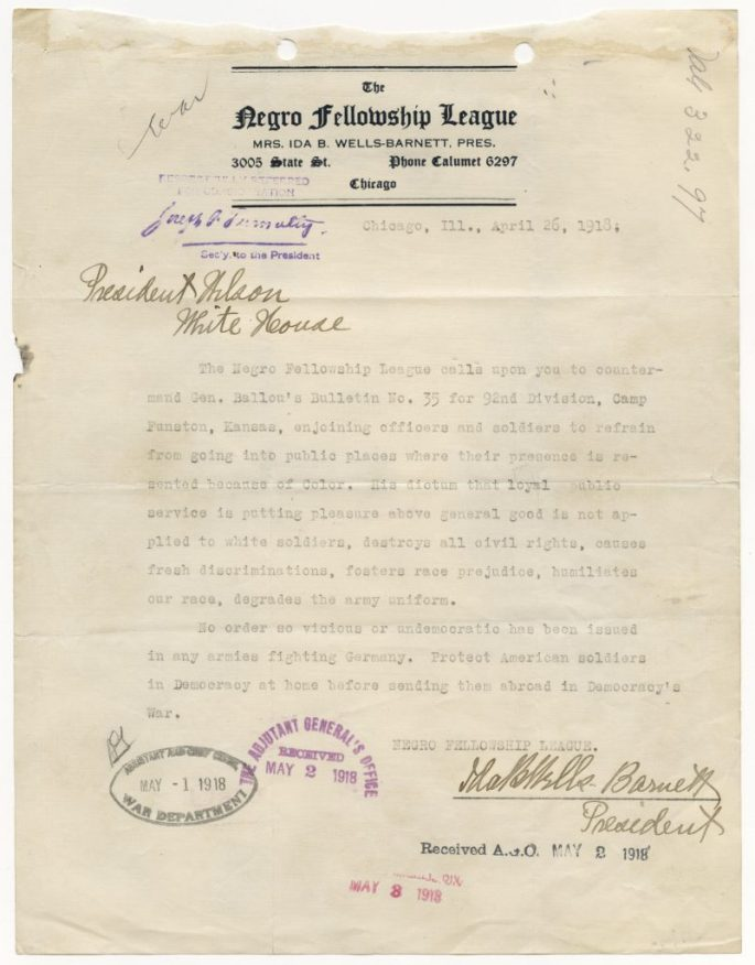the letter calls for Wilson to rescind an order that restricts soldiers from going to public places where they would not be welcomed b/c of their color