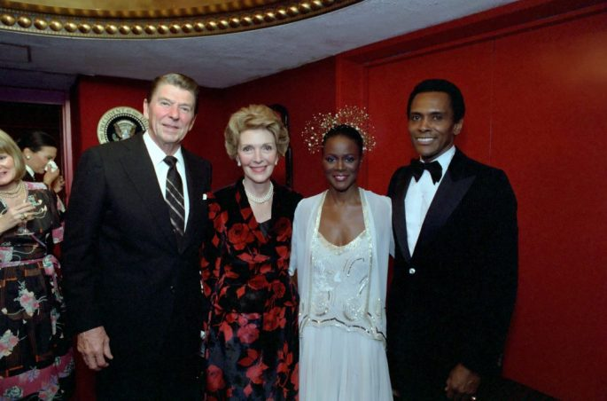 Cicely Tyson posing with Ronald and Nancy Reagan at the Kennedy Center