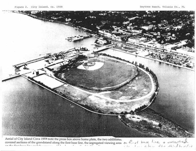 view of ballpark ca. 1938 w/marked segregated areas