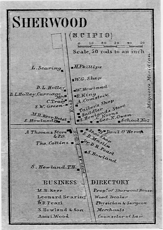 map of Sherwood community with business labeled