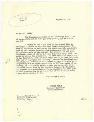 Response from Stephen Early, Assistant Secretary to the President, 8/10/1936