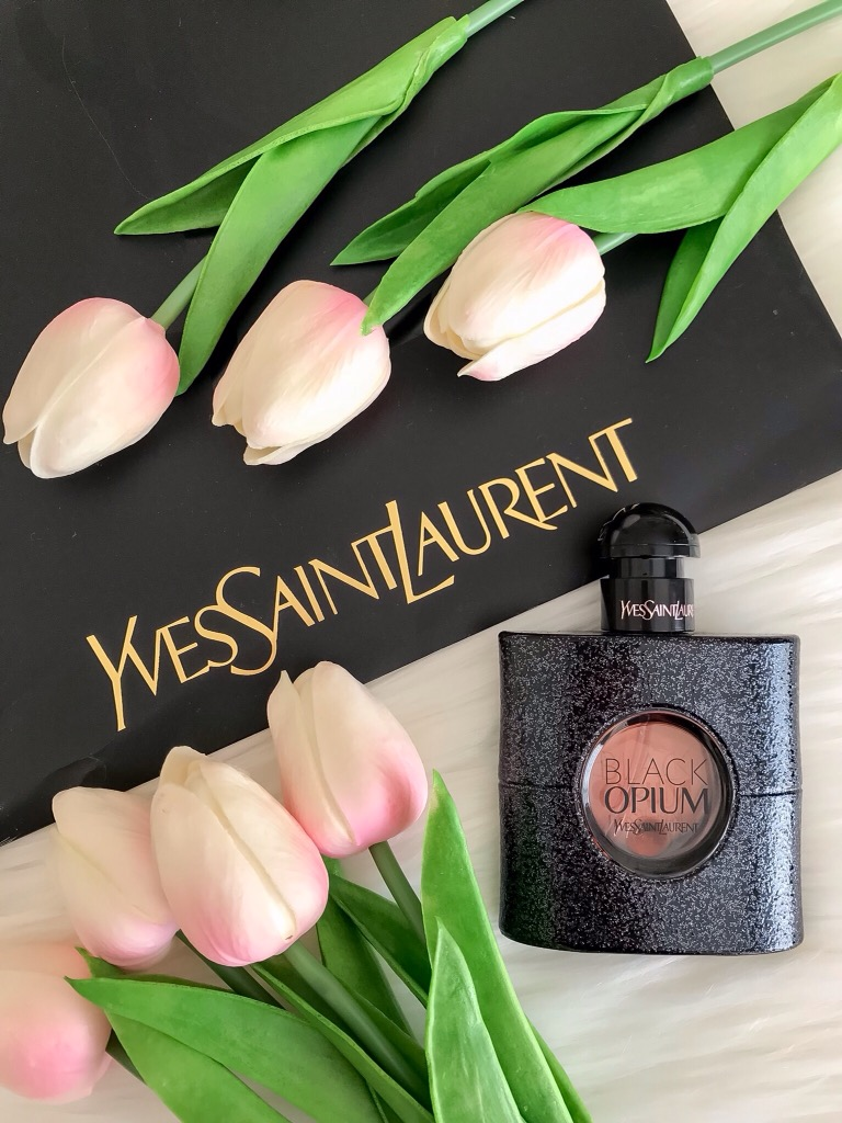 YSL Black Opium Flatlay Luxe Perfume - Rediscovering My Style