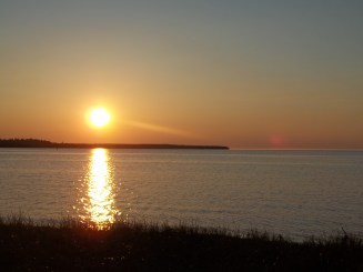 Sunset over looking the bay at Tourist Park campground.