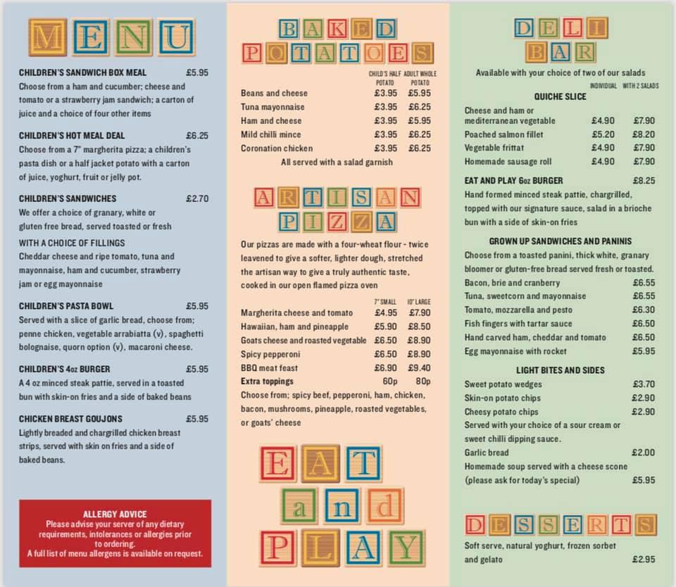 bicester avenue cafe menu