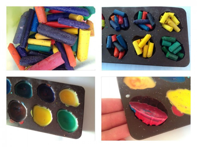 homemade crayons, how to make crayons, crayon tutorial, make crayons at home, melt stubs of old crayons, crayons in silicone mould, easter crayons, chocolate-free easter prizes
