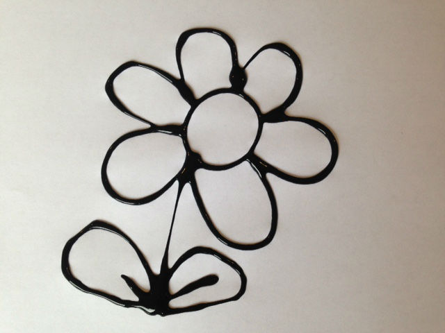 black glue art, kids craft black glue pictures