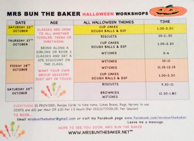 october, half term, cookery class, halloween