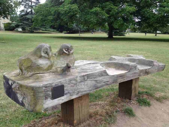 story book tree, CS Lewis, carved bench, wooden owls, headington