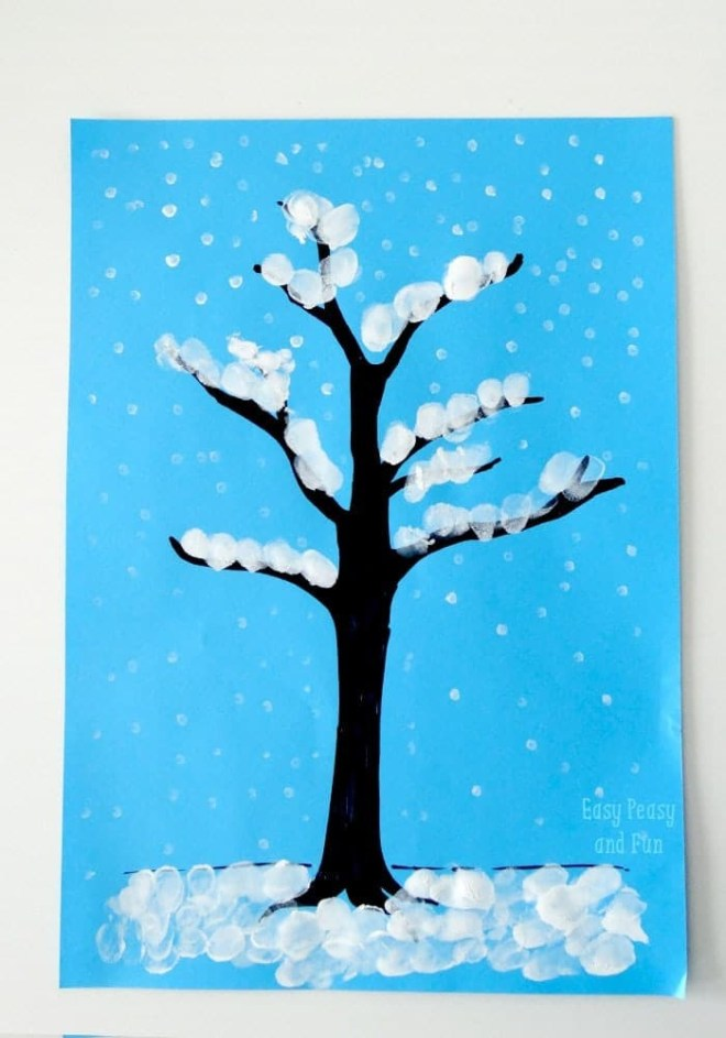 winter tree finger painting, kids finger painting crafts