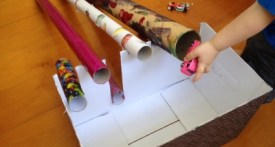 cardboard tube games for kids, cardboard tube car track