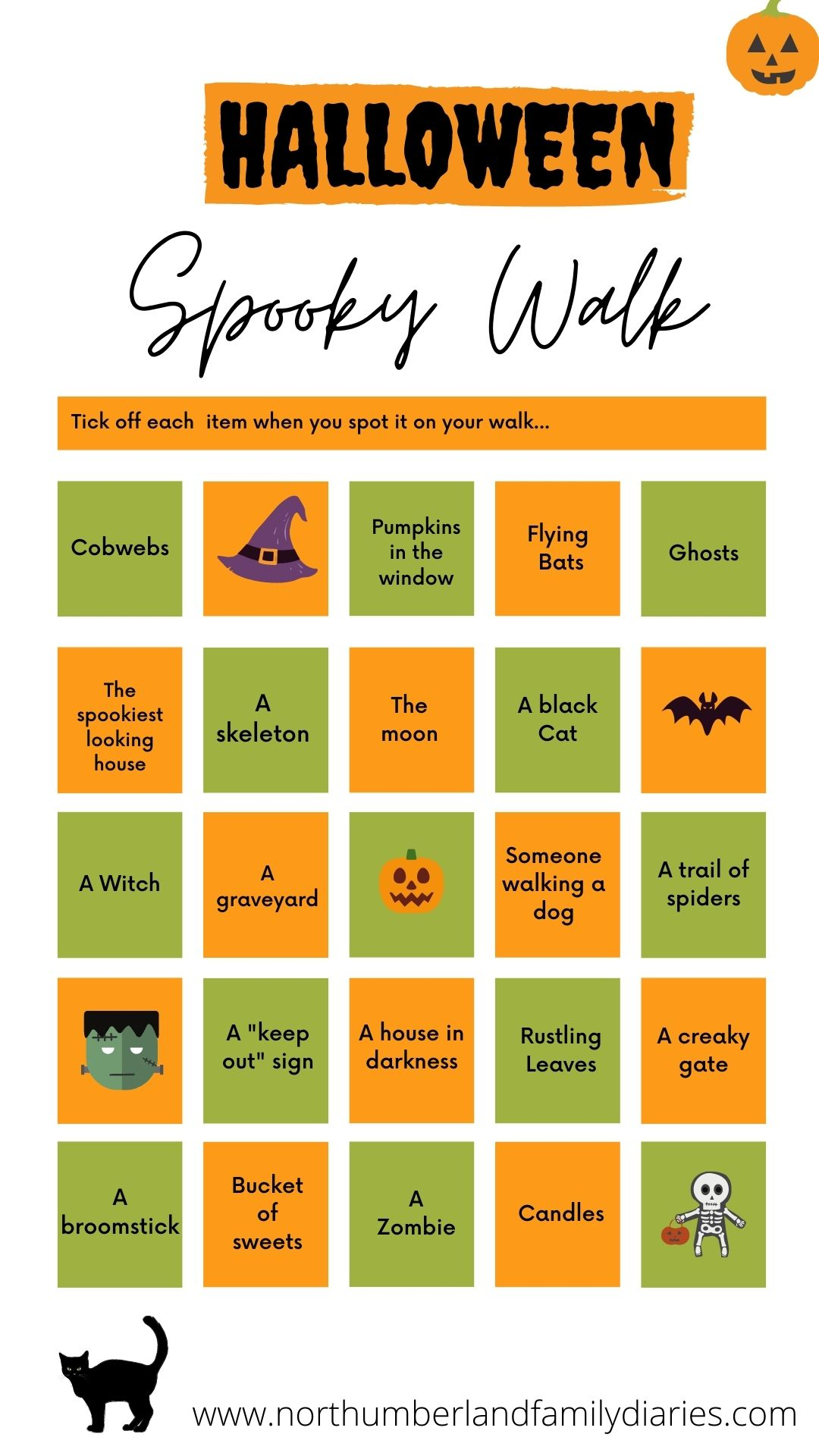 halloween bingo, halloween games, halloween trail game