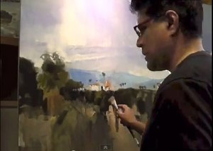 Fariad as he paints Redlands Orchard