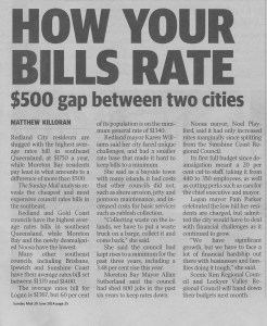 Redland City rates the highest according to the Sunday Mail
