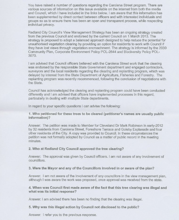 Page 2 of Cr Hardman's response to questions about tree clearing