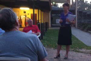 Cr Wendy Boglary discusses planning with residents of Ormiston