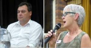 Matt McEachen (LNP) and Deb Kellie (Labor)