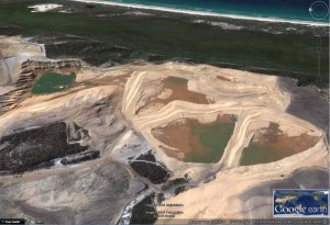 Sand mining on North Stradbroke Island - from Google Earth