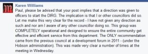 Part of a comment by Mayor Karen Williams on Cr Paul Bishop's Facebook page, 24 April 2015