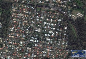 Aerial Photograph of Whepstead Precinct and neighbouring Modern Precinct to West of Main Road (click to enlarge)