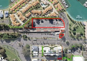 Plan showing in red the area of residential development and the kiosk (click to enlarge)