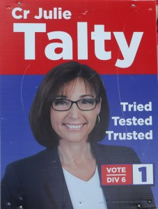 Cr Julie Talty's 2016 election corflute