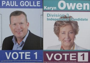 Two of the four candidates for division 3 Paul Golle and Karyn Owen. The other candidates are Penny Donald and Troy Robbins.