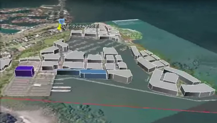 Scale of the proposed development around Toondah Harbour from a Redlands 2030 flyover simulation