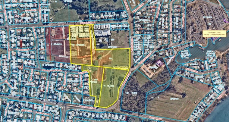 Aerial map showing location of Villa World's proposed 88 lot subdivision at Redland Bay