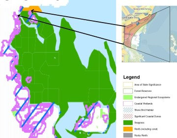 Figure 2: State Significant Coastal values. Seagrass, shorebird habitat and Reefs. Source: SEQ Coastal Management Plan. Areas of state significance (Natural Resources), August 2003.