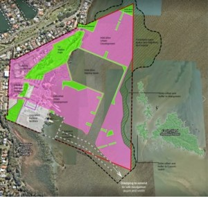 Plan of the area at Toondah Harbour to be impacted by dredging and development of 3,600 apartments.