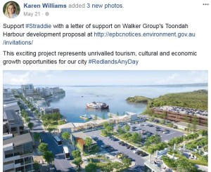 Mayor Karen Williams' Facebook post calling for letters of support on Walker Group's proposal