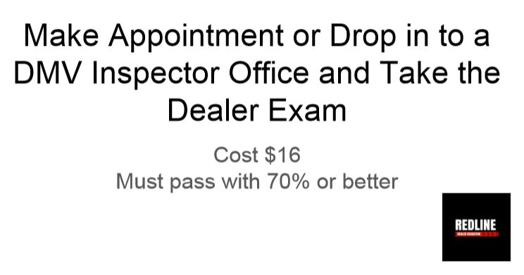 Make appointment for DMV exam, cost $16