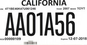 California Temporary License plates for dealers