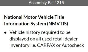 National Motor Vehicle Title Information System history report (NMVTIS)