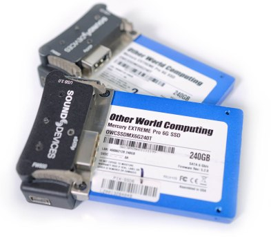 High speed 240GB Solid State Hard Drives for capturing files like the 12bit ProRes 4444 codec