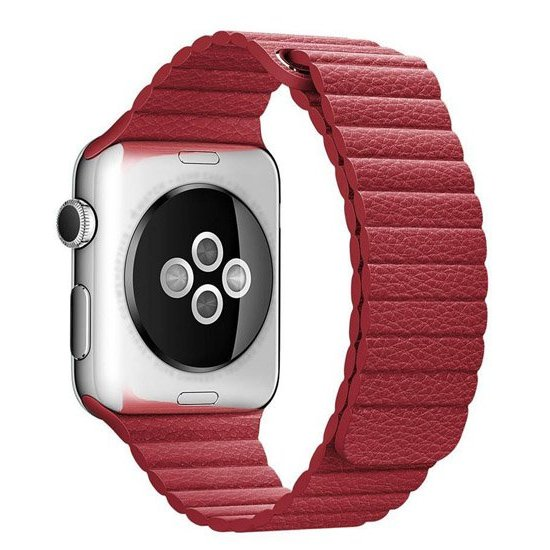 curea piele apple watch 4rosu