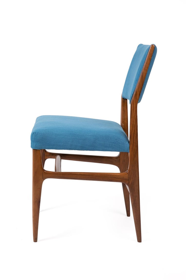 Gio Ponti Walnut Dining Chairs For Singer Sons With Blue Upholstery Set Of 4 Red Modern Furniture
