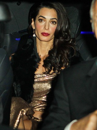 Amal Gold Lame Bling Pissed in Car